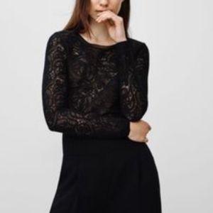 WILFRED Lace Mesh Long Sleeve Black Crop Top